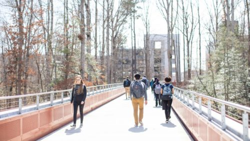Students walking at Wake Tech